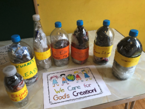Eco Bricks made by Junior Church members at Trinity URC Wimbledon
